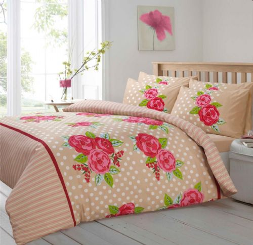 NATURAL BEIGE COLOUR POLKADOT LARGE ROSE FLORAL DESIGN BEDDING DUVET COVER SET